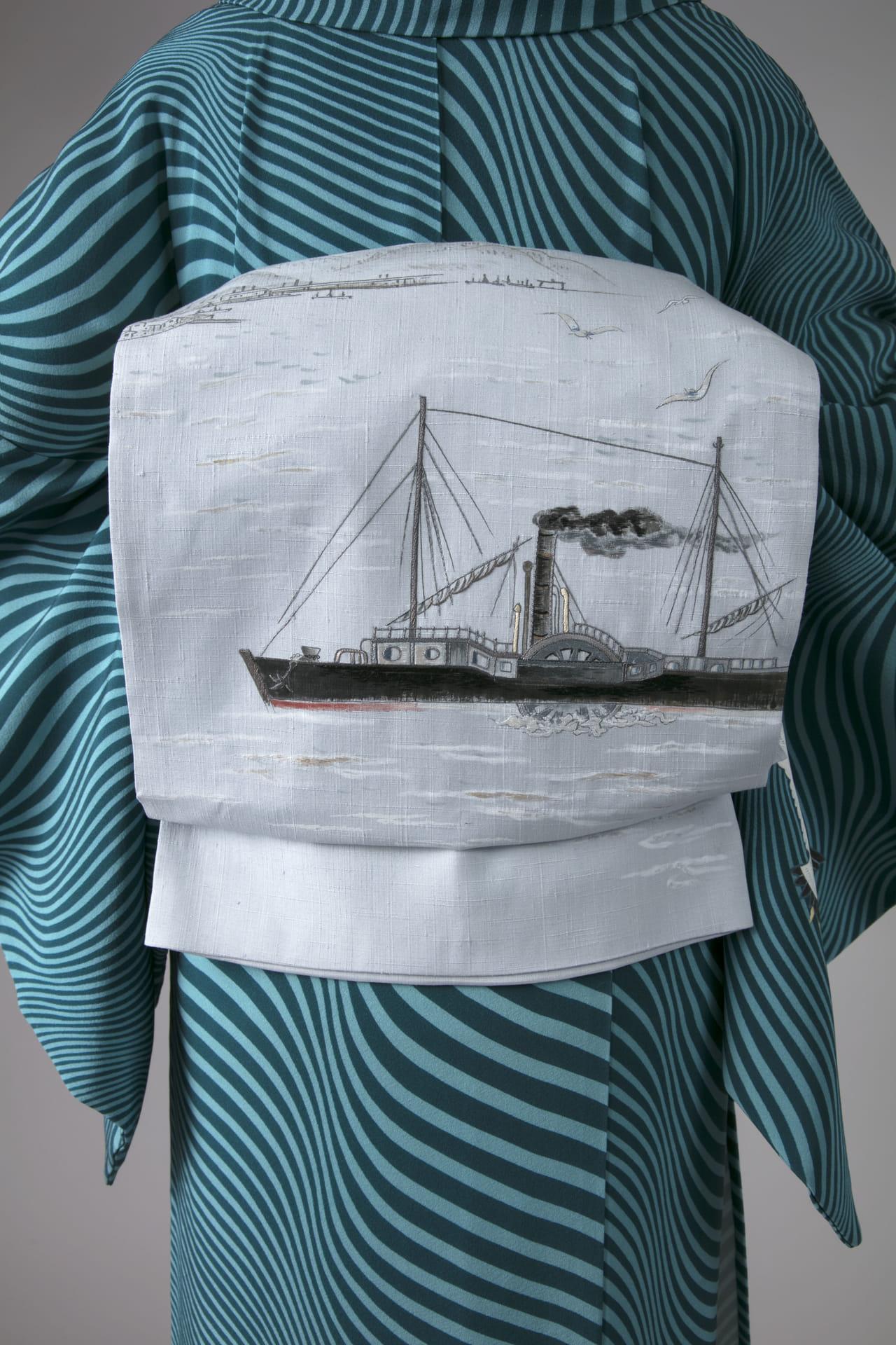 港の風景手描き友禅染名古屋帯