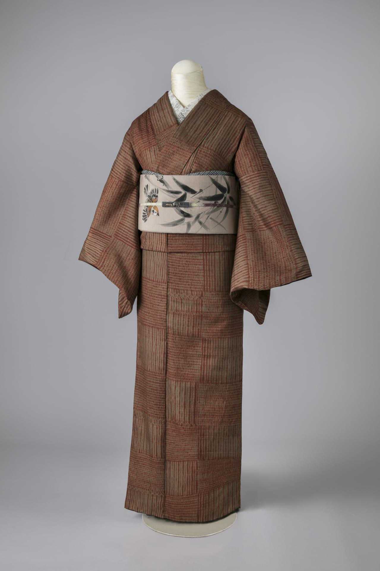 市松にかわり絞り大島紬