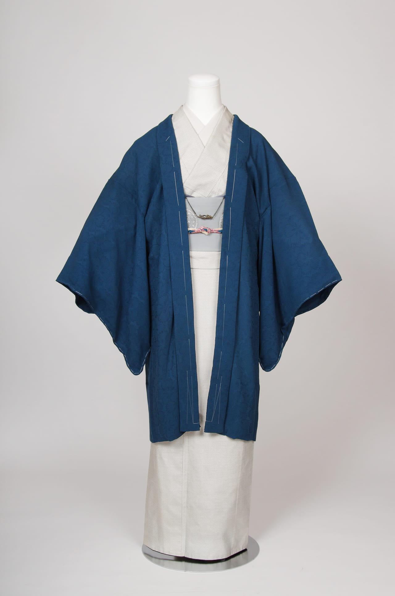 高麗納戸色撫子文様単衣羽織