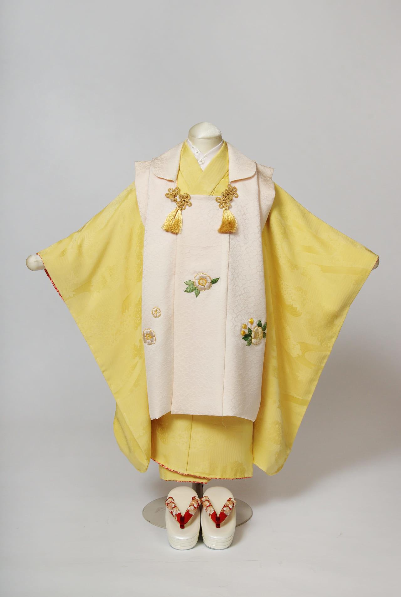 金糸雀色に白いお被布 三歳祝い着セット