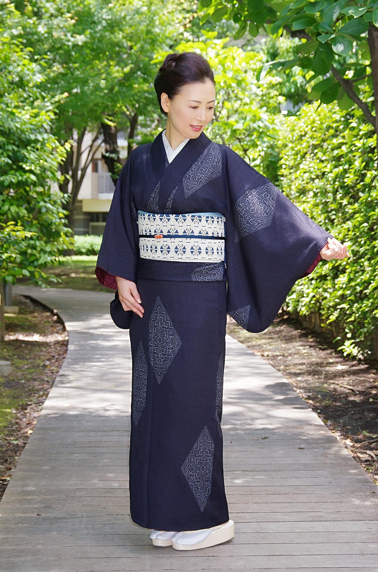 菱文藍袷結城紬