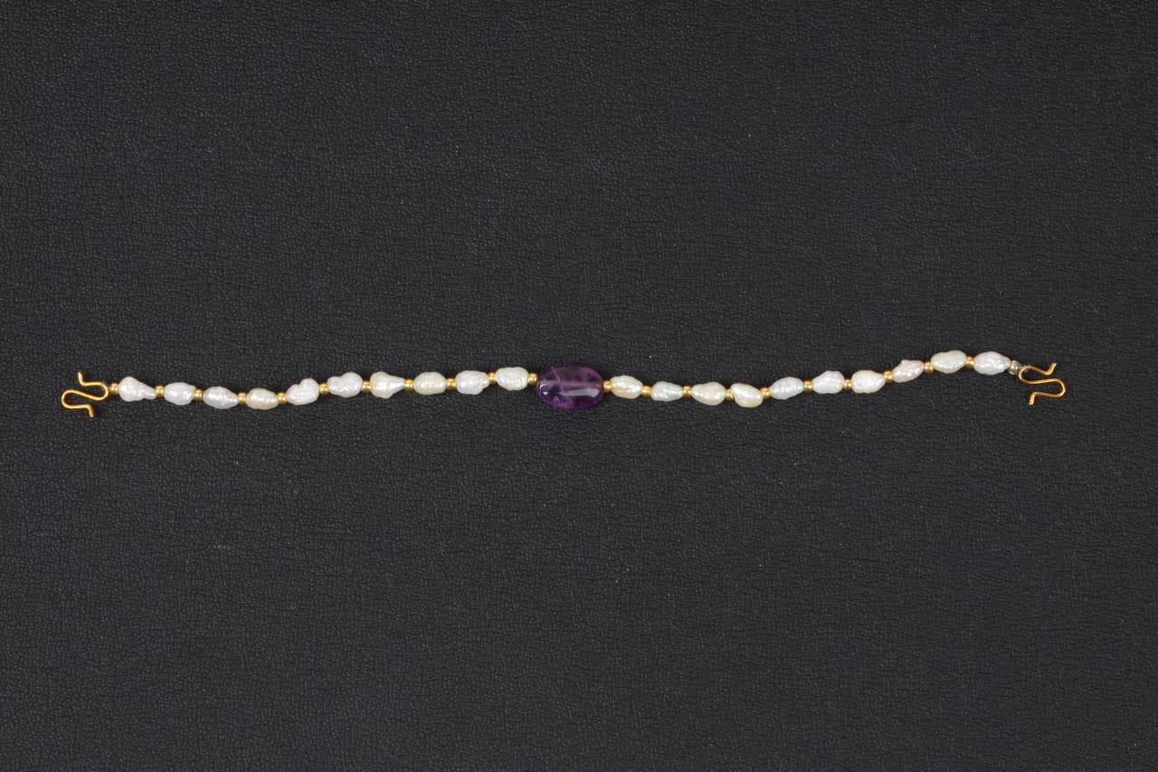 アメジストと貝パールの羽織紐